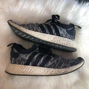 Adidas Men's NMD R2 Primeknit Black White Shoes